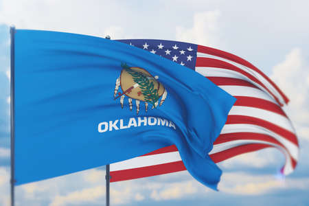 State of Oklahoma flag. 3D illustration, flags of the U.S. states and territories 免版税图像