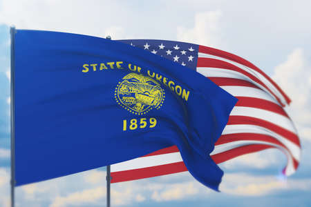 State of Oregon flag. 3D illustration, flags of the U.S. states and territories