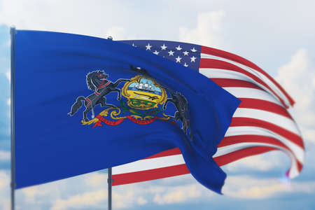 State of Pennsylvania flag. 3D illustration, flags of the U.S. states and territories