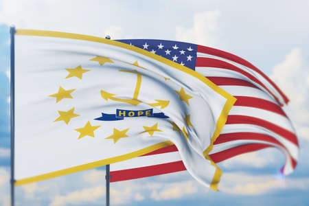 State of Rhode Island flag. 3D illustration, flags of the U.S. states and territories