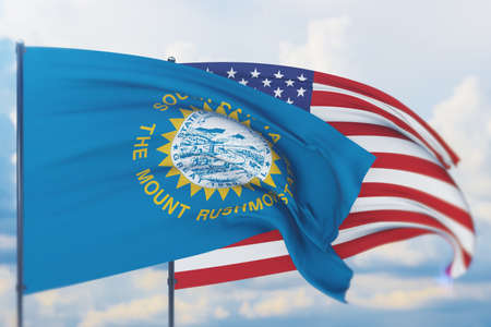 State of South Dakota flag. 3D illustration, flags of the U.S. states and territories