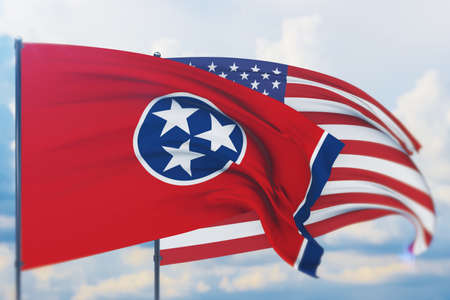State of Tennessee flag. 3D illustration, flags of the U.S. states and territories