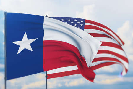State of Texas flag. 3D illustration, flags of the U.S. states and territories