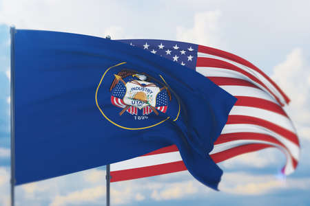 State of Utah flag. 3D illustration, flags of the U.S. states and territories