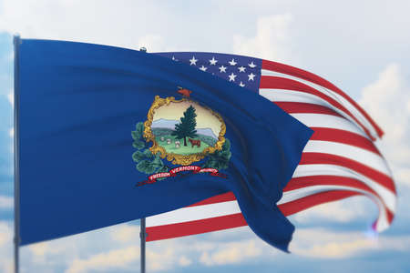 State of Vermont flag. 3D illustration, flags of the U.S. states and territories 免版税图像