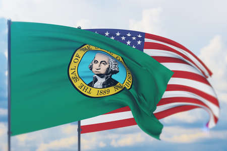 State of Washington flag. 3D illustration, flags of the U.S. states and territories