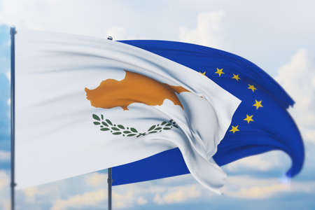 Waving European Union flag and flag of Cyprus. Closeup view, 3D illustration.