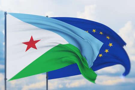Waving European Union flag and flag of Djibouti. Closeup view, 3D illustration. Фото со стока