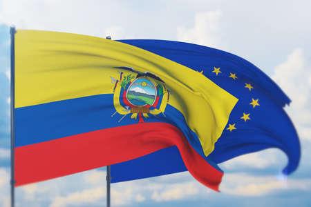 Waving European Union flag and flag of Ecuador. Closeup view, 3D illustration.