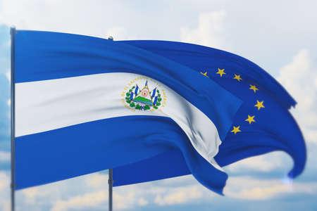 Waving European Union flag and flag of El Salvador. Closeup view, 3D illustration.