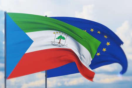 Waving European Union flag and flag of Equatorial Guinea. Closeup view, 3D illustration.