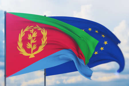 Waving European Union flag and flag of Eritrea. Closeup view, 3D illustration.