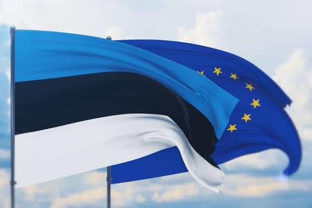 Waving European Union flag and flag of Estonia. Closeup view, 3D illustration. Фото со стока