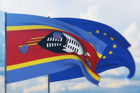 Waving European Union flag and flag of Eswatini. Closeup view, 3D illustration.