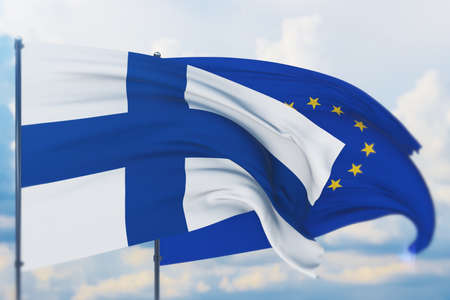 Waving European Union flag and flag of Finland. Closeup view, 3D illustration.