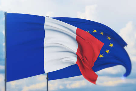 Waving European Union flag and flag of France. Closeup view, 3D illustration.