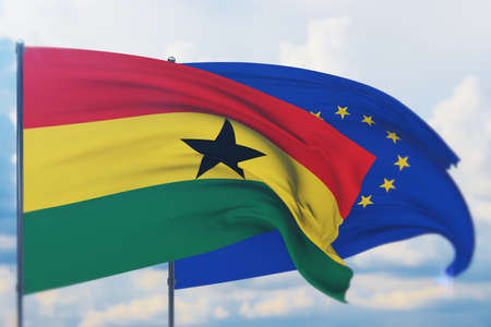 Waving European Union flag and flag of Ghana. Closeup view, 3D illustration.