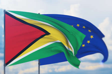 Waving European Union flag and flag of Guyana. Closeup view, 3D illustration.