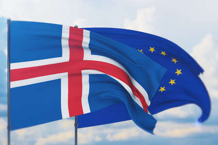 Waving European Union flag and flag of Iceland. Closeup view, 3D illustration. Фото со стока