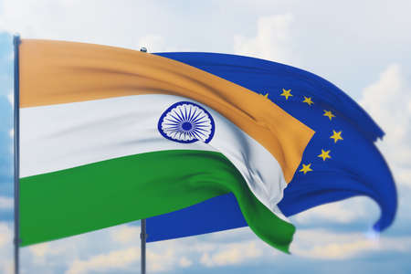 Waving European Union flag and flag of India. Closeup view, 3D illustration.