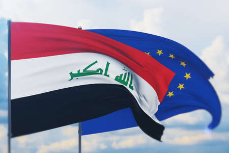 Waving European Union flag and flag of Iraq. Closeup view, 3D illustration.