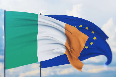 Waving European Union flag and flag of Ireland. Closeup view, 3D illustration. Фото со стока