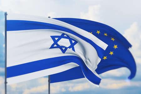 Waving European Union flag and flag of Israel. Closeup view, 3D illustration. Фото со стока