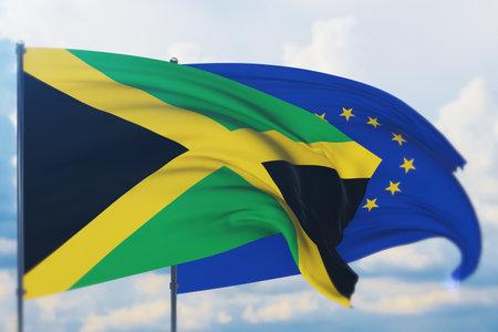 Waving European Union flag and flag of Jamaica. Closeup view, 3D illustration. Фото со стока