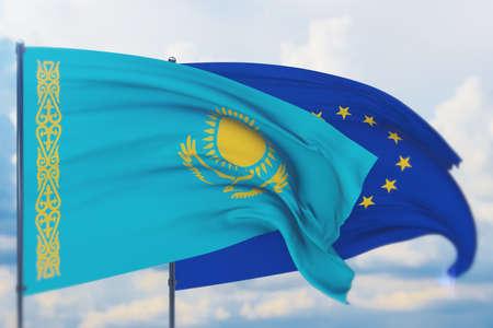 Waving European Union flag and flag of Kazakhstan. Closeup view, 3D illustration.