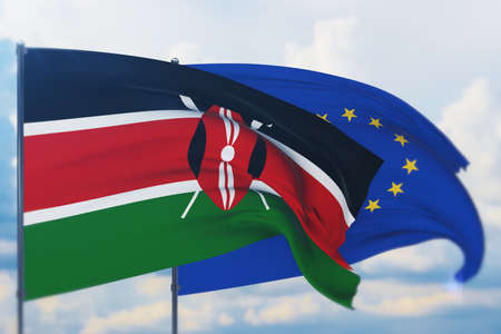 Waving European Union flag and flag of Kenya. Closeup view, 3D illustration. Фото со стока