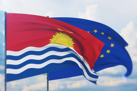 Waving European Union flag and flag of Kiribati. Closeup view, 3D illustration.