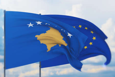 Waving European Union flag and flag of Kosovo. Closeup view, 3D illustration.