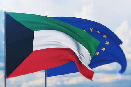 Waving European Union flag and flag of Kuwait. Closeup view, 3D illustration. Фото со стока