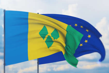 Waving European Union flag and flag of Saint Vincent And The Grenadines. Closeup view, 3D illustration.
