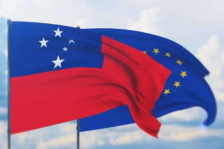 Waving European Union flag and flag of Samoa. Closeup view, 3D illustration.