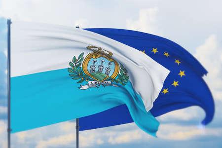 Waving European Union flag and flag of San Marino. Closeup view, 3D illustration.