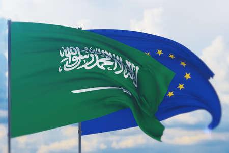 Waving European Union flag and flag of Saudi Arabia. Closeup view, 3D illustration.