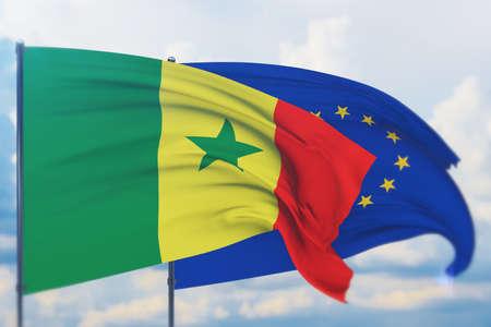 Waving European Union flag and flag of Senegal. Closeup view, 3D illustration.