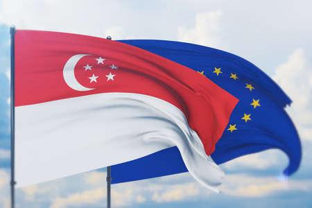 Waving European Union flag and flag of Singapore. Closeup view, 3D illustration. Фото со стока