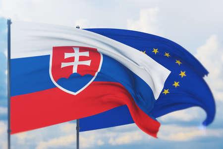 Waving European Union flag and flag of Slovakia. Closeup view, 3D illustration.