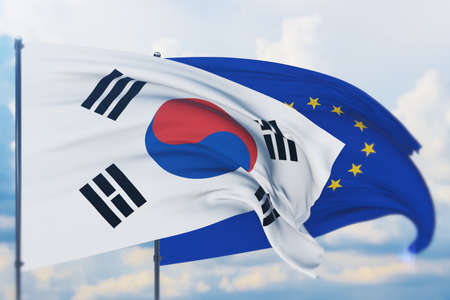 Waving European Union flag and flag of South Korea. Closeup view, 3D illustration.