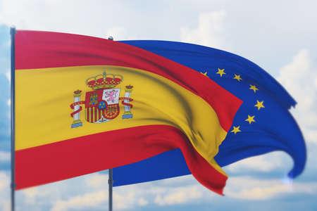 Waving European Union flag and flag of Spain. Closeup view, 3D illustration.