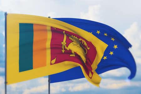 Waving European Union flag and flag of Sri Lanka. Closeup view, 3D illustration. Фото со стока