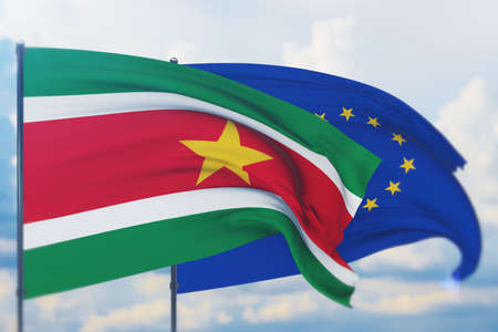 Waving European Union flag and flag of Suriname. Closeup view, 3D illustration.