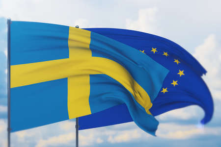 Waving European Union flag and flag of Sweden. Closeup view, 3D illustration.
