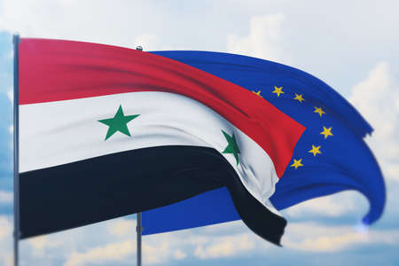 Waving European Union flag and flag of Syria. Closeup view, 3D illustration.