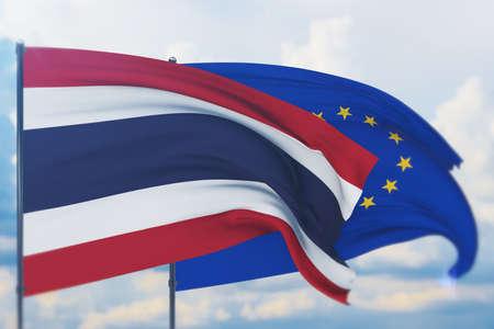 Waving European Union flag and flag of Thailand. Closeup view, 3D illustration.
