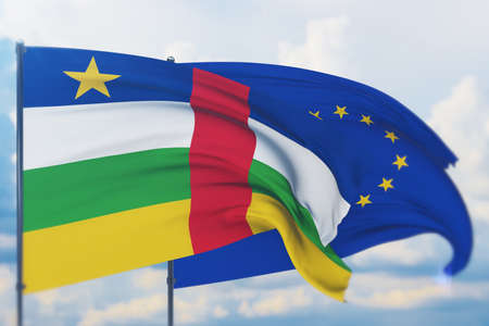 Waving European Union flag and flag of Central African Republic. Closeup view, 3D illustration.