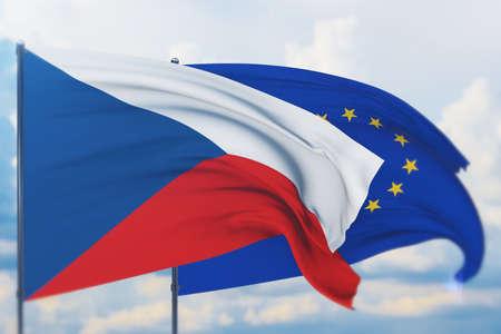 Waving European Union flag and flag of Czech Republic. Closeup view, 3D illustration. Фото со стока