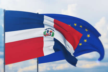 Waving European Union flag and flag of Dominican Republic. Closeup view, 3D illustration.